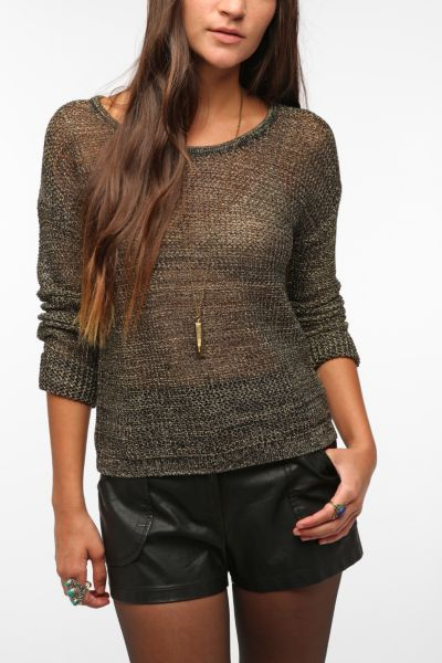byCORPUS Metallic Mesh Sweater