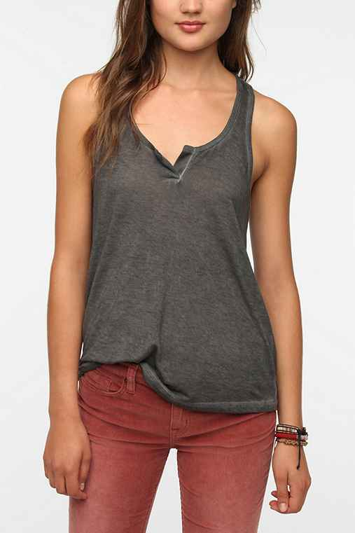 Staring At Stars Over-Dyed Henley Tank Top
