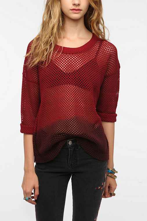 Sparkle & Fade Dip- Dyed Netted Pullover Sweater