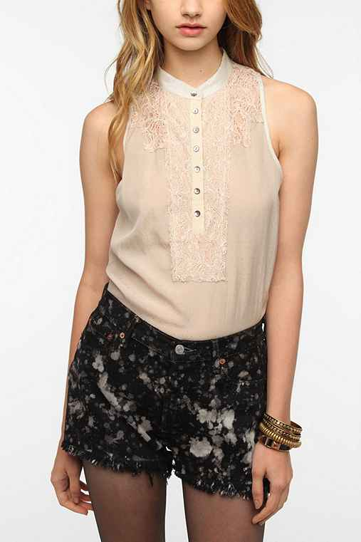 Pins and Needles Lace Bib Sleeveless Blouse