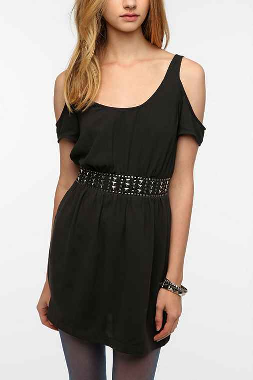 Silence & Noise Embellished Waist Cold Shoulder Dress