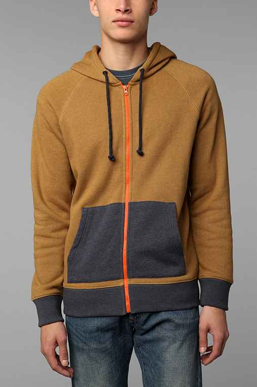 BDG Colorblock Zip-Up Sweatshirt