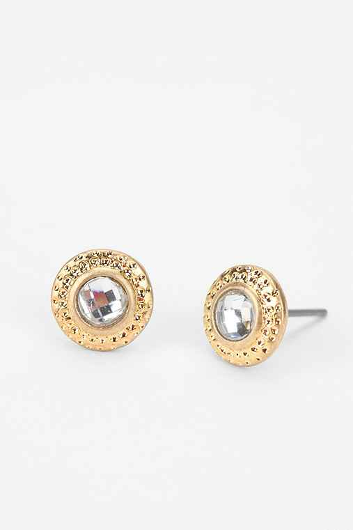 Hammered Stone Stud Earring