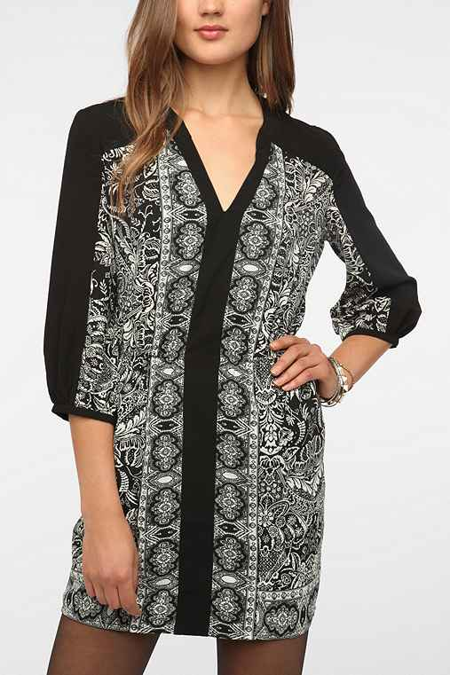 Ecote Silky Printed Bianca Shirtdress