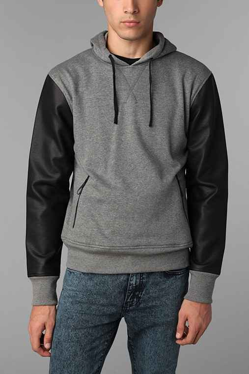 The Narrows Faux-Leather Sleeve Pullover Hooded Sweatshirt