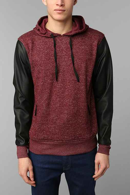 The Narrows Faux-Leather Sleeve Pullover Hoodie