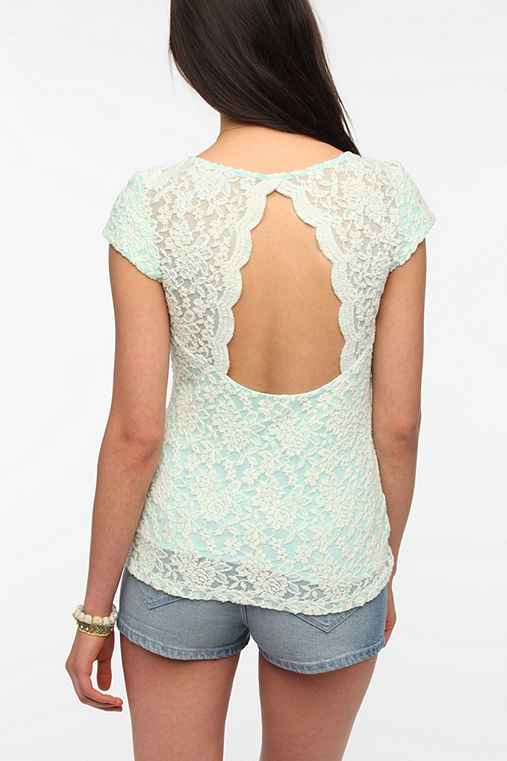 Pins And Needles Scallop-Back Lace Tee