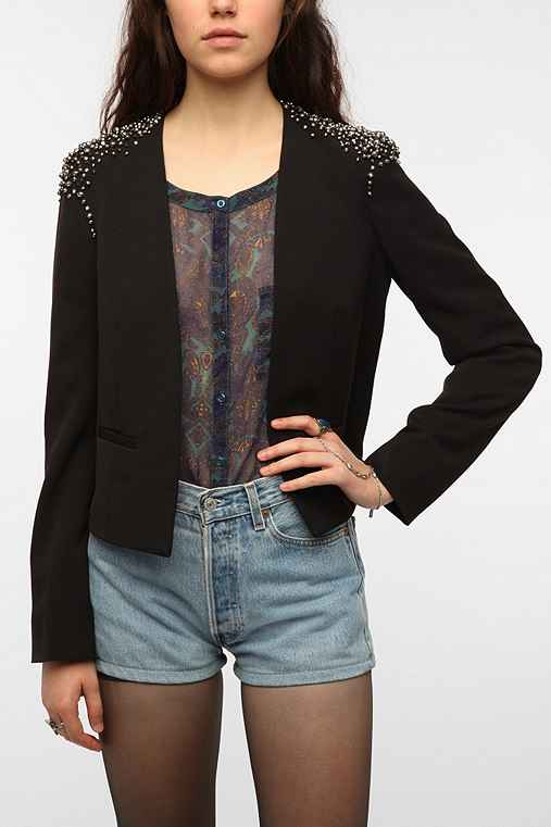 Silence & Noise Embellished Shoulder Blazer