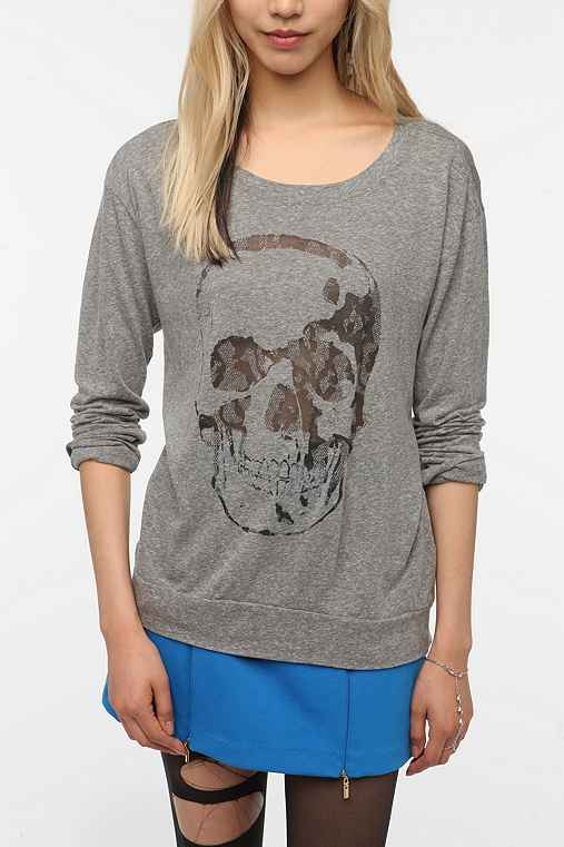 Truly Madly Deeply Long-Sleeved Burnout Skull Tee
