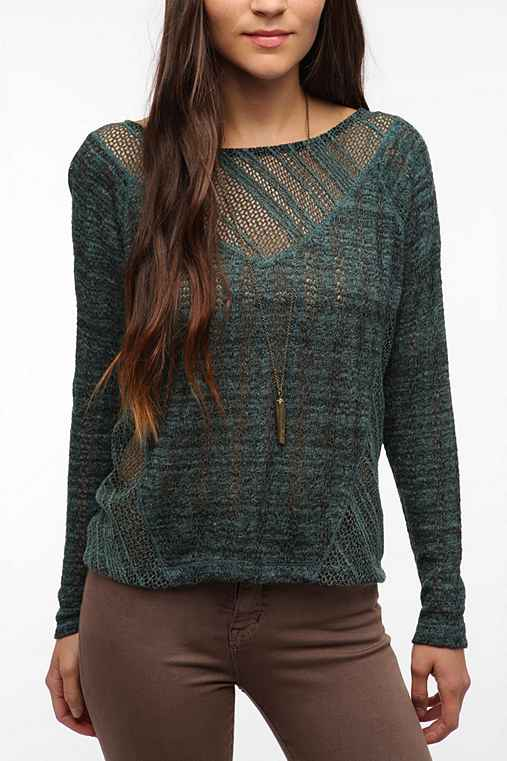 Sparkle & Fade Crochet Sweater Knit Top