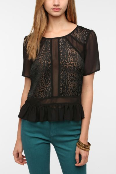 Pins and Needles Burnout Peplum Blouse