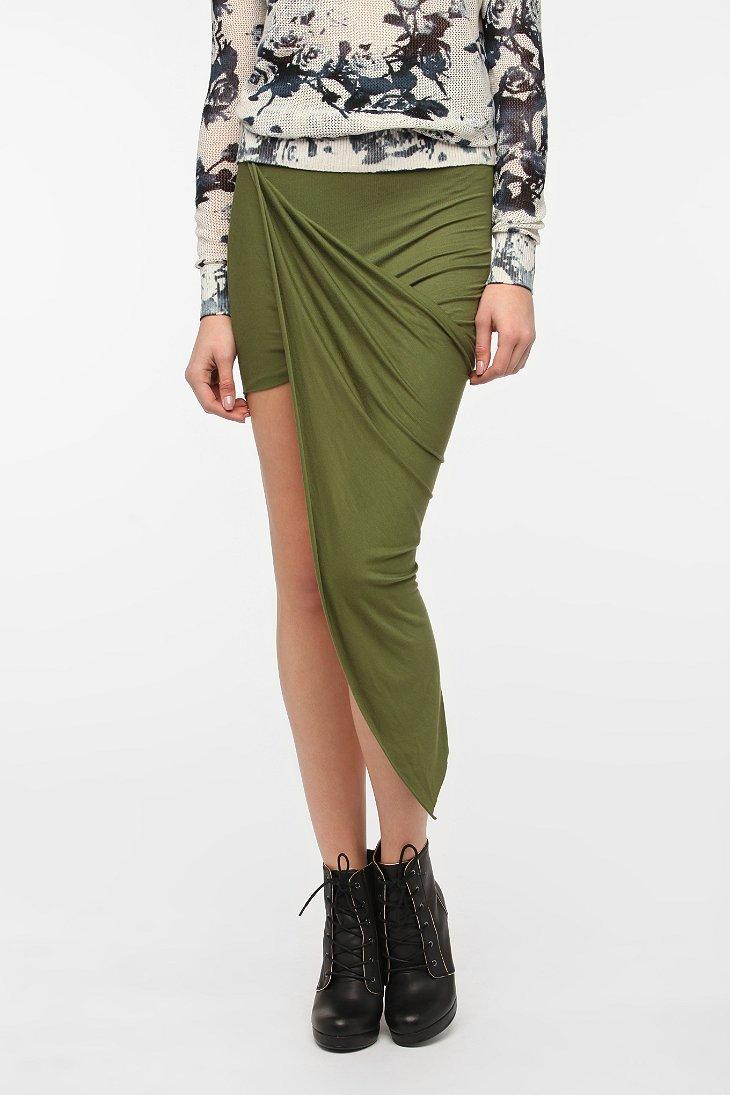 sparkle fade asymmetrical drape knit maxi skirt