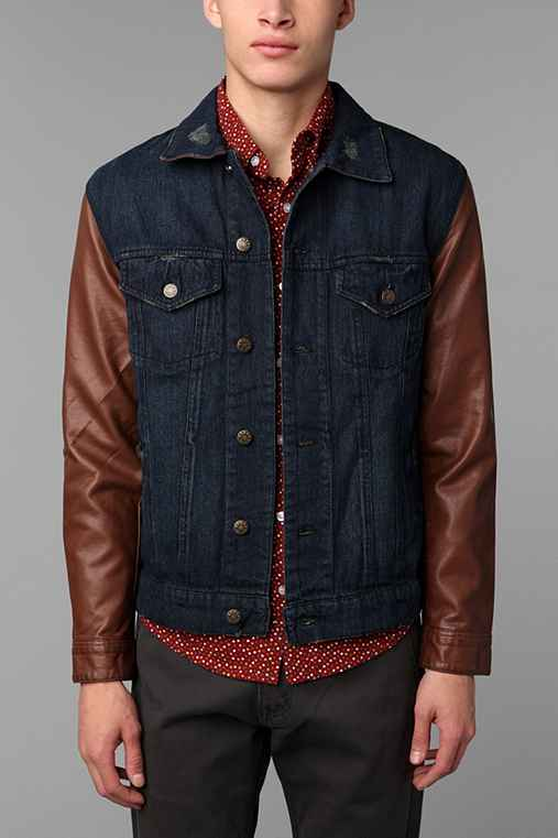 Just A Cheap Shirt Denim And Faux Leather Trucker Jacket