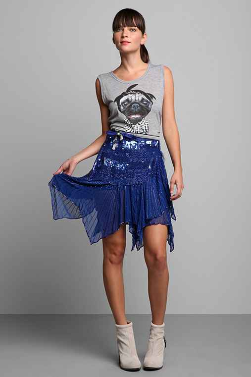 Luxury Jones for Urban Renewal Blue Sequined Wrap Skirt