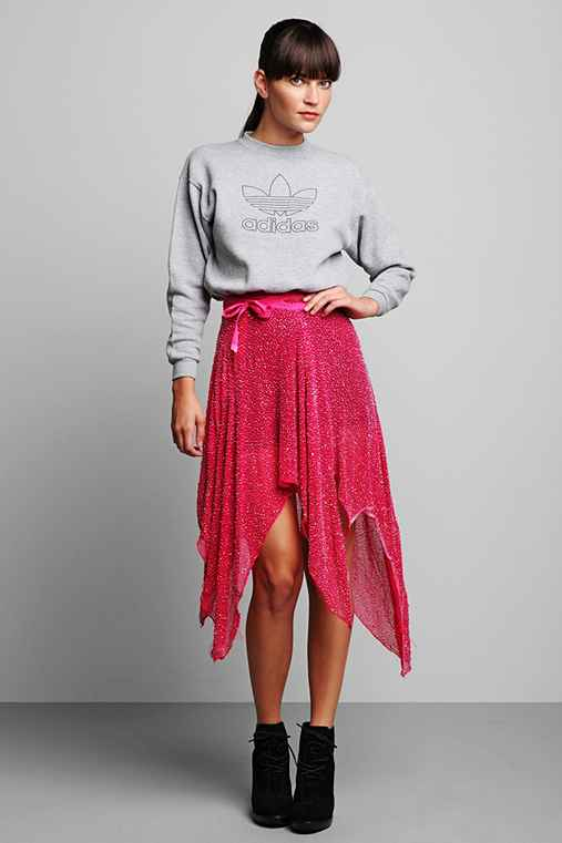 Luxury Jones for Urban Renewal Magenta Beaded Wrap Skirt