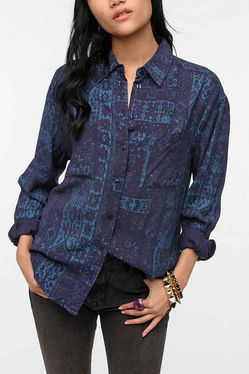 Ecote Oversized Soft Woven Button-Down Shirt