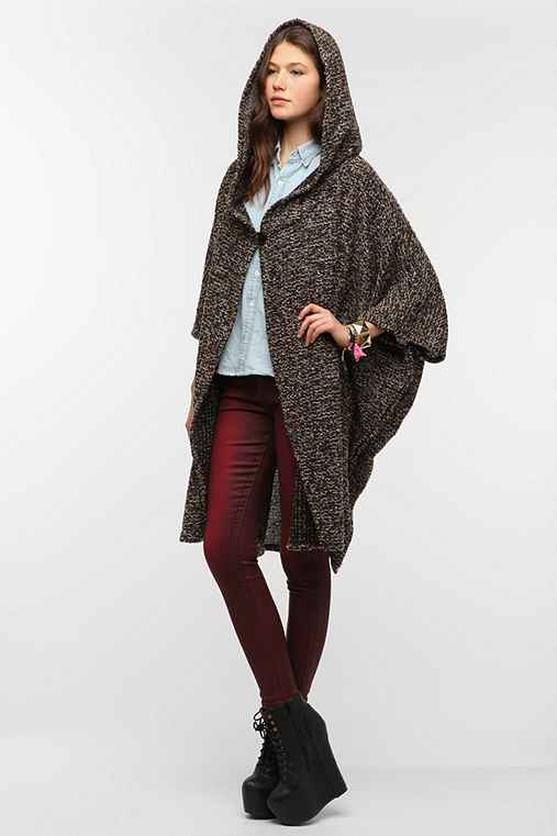 Urban Renewal Hooded Boucle Cape