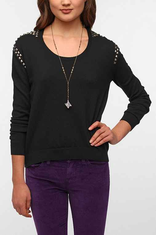 Silence + Noise Studded-Shoulder Sweater