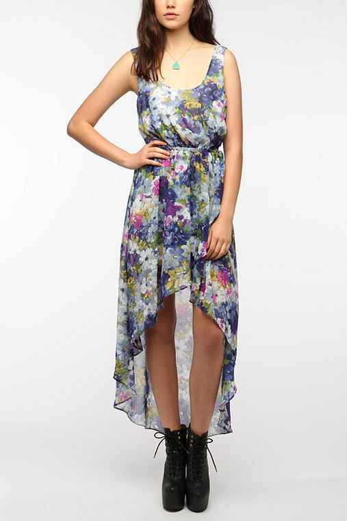 Sparkle & Fade Floral Chiffon High/Low Tank Dress