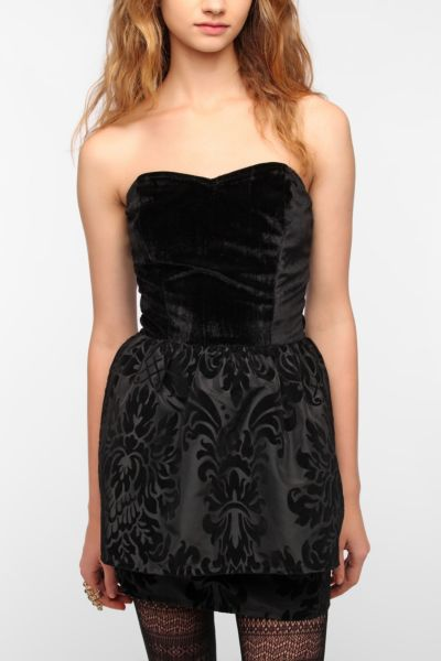 Johann Earl Strapless Velvet Taffeta Dress
