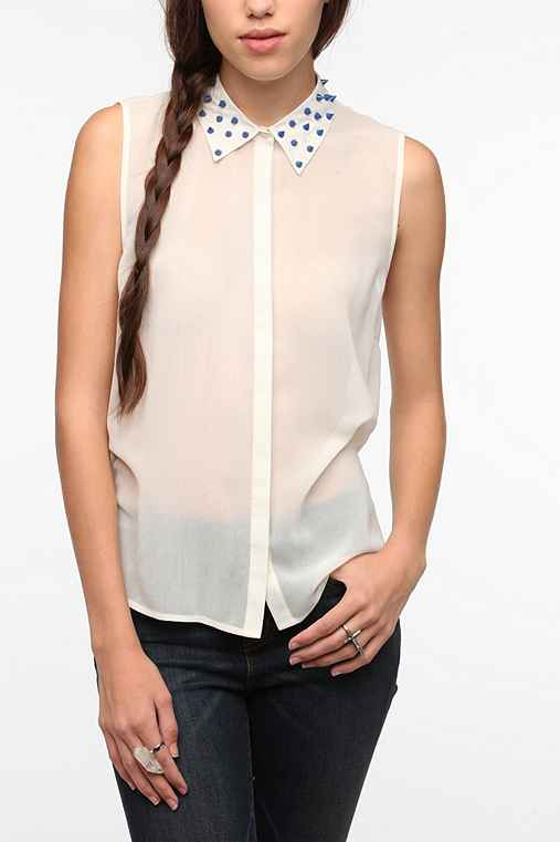 Sparkle & Fade Bright Studded Collar Blouse