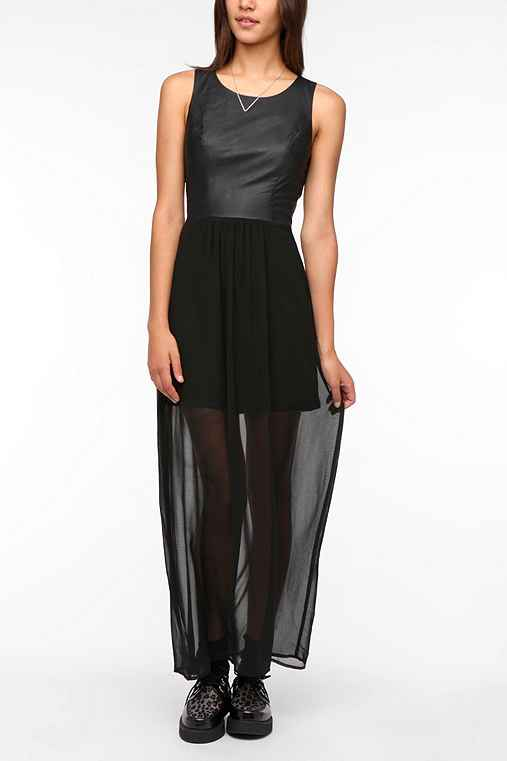 Sparkle & Fade Faux Leather Bodice Maxi Dress