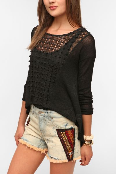 Staring At Stars Crochet Panel Sweater Knit Top