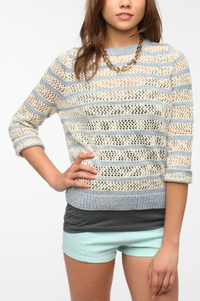 BDG Striped Mesh-Knit Pullover Sweater