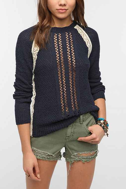 Kimchi Blue Textured Crochet Inset Sweater