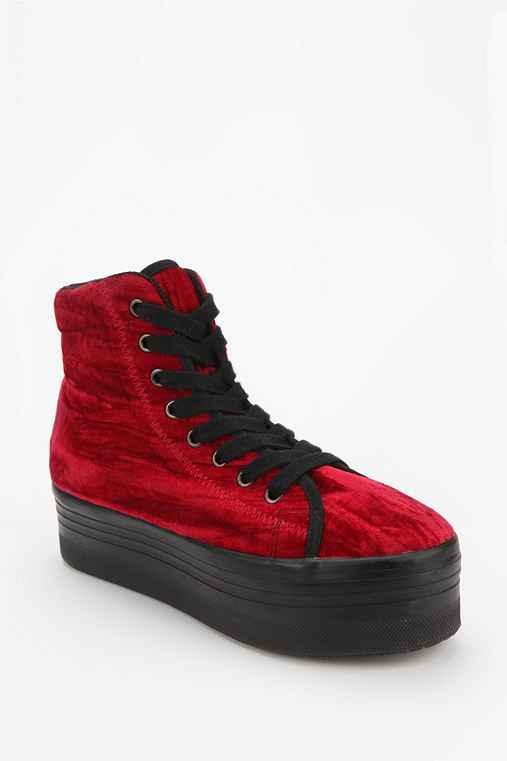 Jeffrey Campbell HOMG Velvet High-Top Flatform-Sneaker
