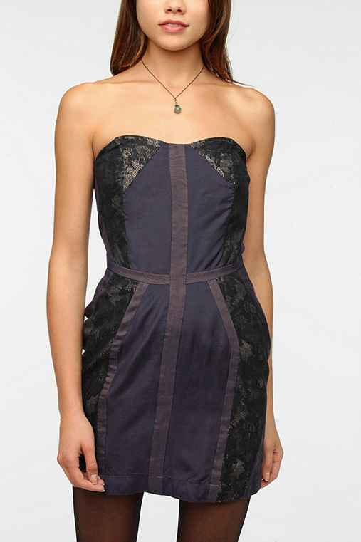 Staring at Stars Pieced Binding Strapless Dress