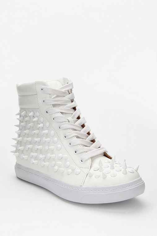Jeffrey Campbell Alva Spike Leather High-Top Sneaker