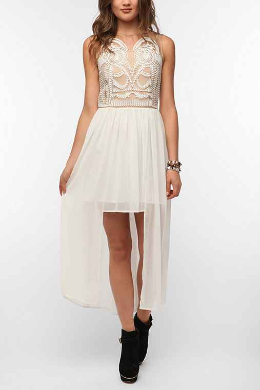 Elliatt Embroidered Athena High/Low Maxi Dress