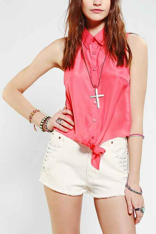 Sparkle & Fade Slit-Back Tie-Front Shirt