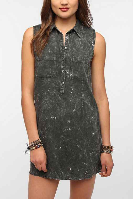 byCORPUS Acid Wash Sleeveless Shirtdress