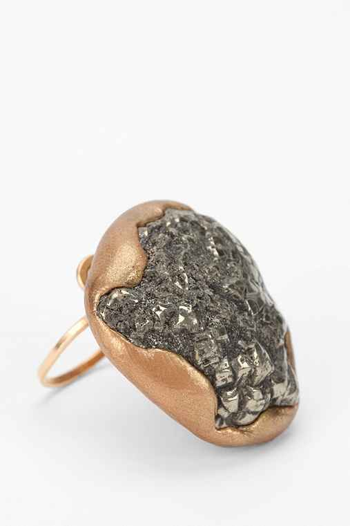 Double Happiness Gold Pyrite Ankara Ring