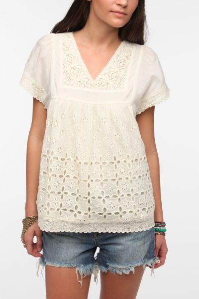 Hazel Cutout Eyelet Tunic Top