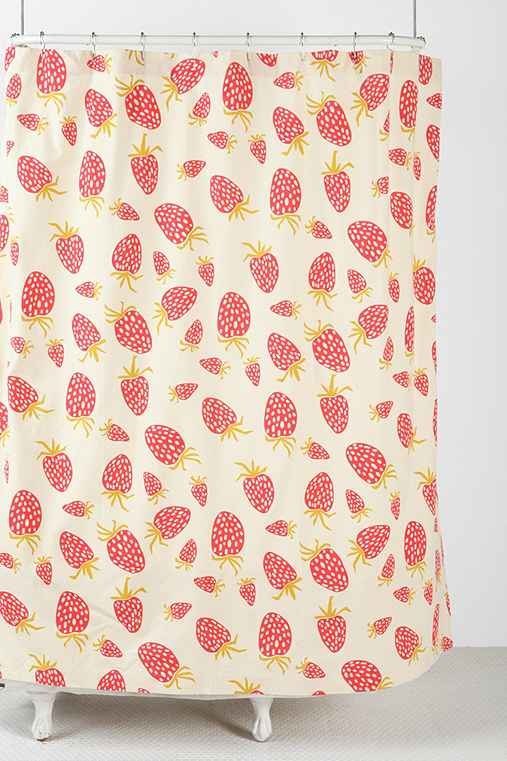 Plum & Bow Strawberry Shower Curtain