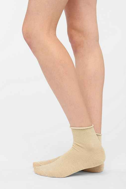 Metallic Rolled-Cuff Ankle Sock