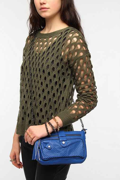 Deena & Ozzy Perforated Tassel Crossbody Bag