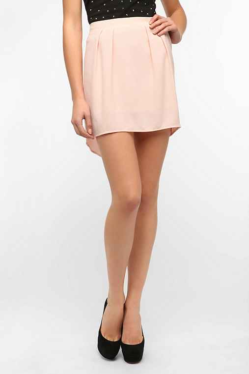 Sparkle & Fade High/Low Crepe Mini Skirt