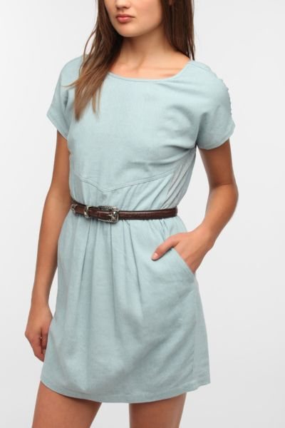 Sparkle & Fade Side Mesh Chambray Dress