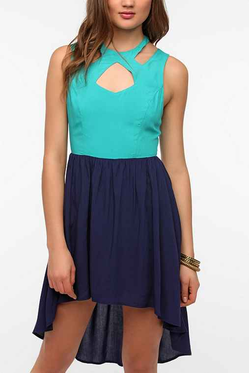 Sparkle & Fade Cutout Neck Colorblock Dress
