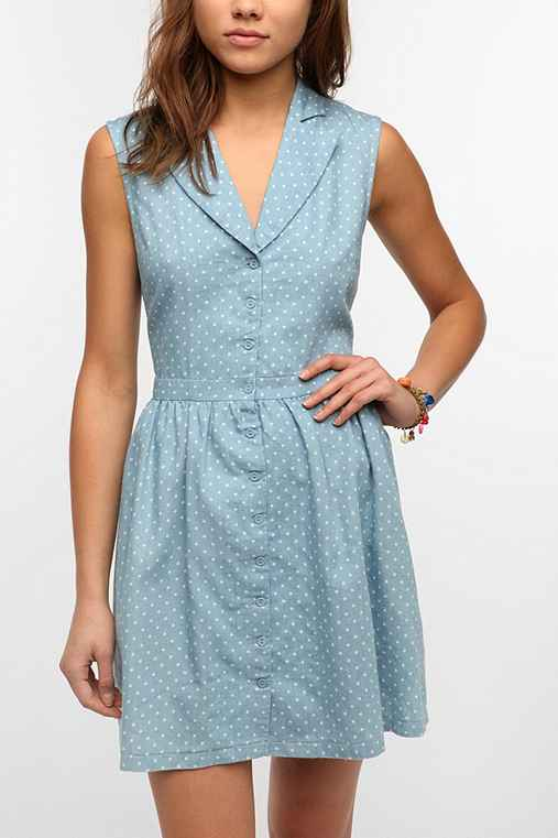 Lucca Couture Chambray Polka Dot Shirtdress