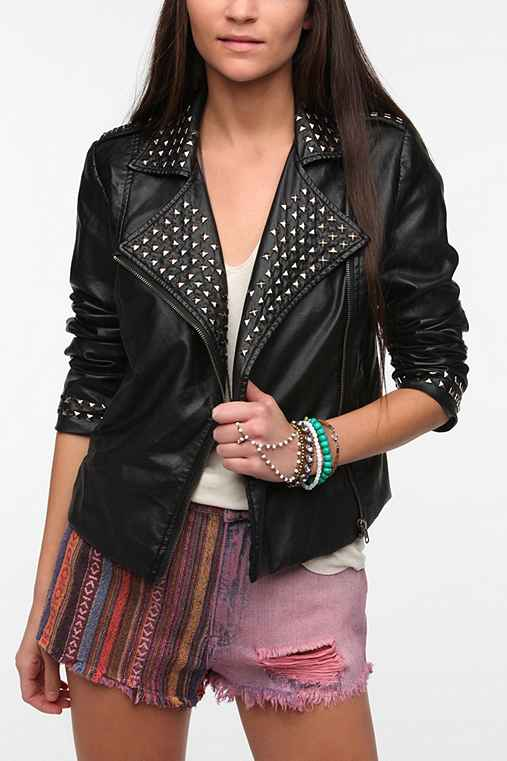Sparkle & Fade Studded Faux Leather Moto Jacket