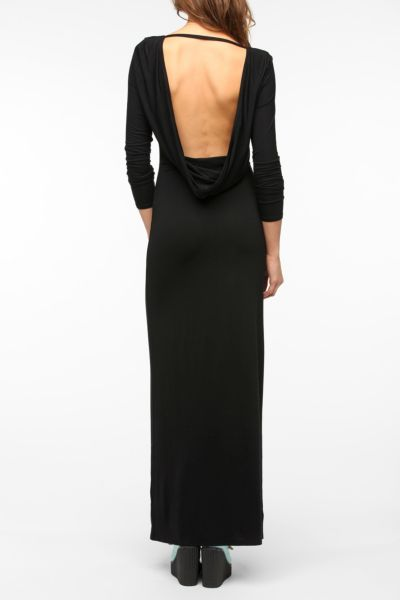 Sparkle & Fade Cowl-Back Long-Sleeved Maxi Dress