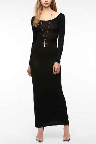 Sparkle & Fade Scoop-Back Long-Sleeved Maxi Dress