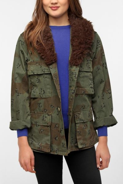 Urban Renewal Faux Fur Military Jacket