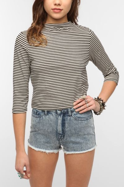 Lucca Couture Striped Mock-Neck Cropped Top
