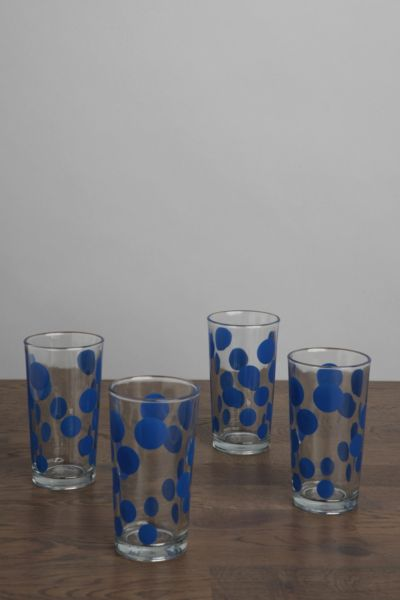 Vintage Blue Dot Glass - Set of 4